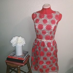 Muse red floral appliqué dress